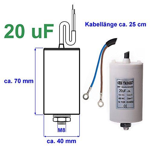 Kondensator Anlaufkondensator Motorkondensator Arbeitskondensator Kabel 20µF 450V