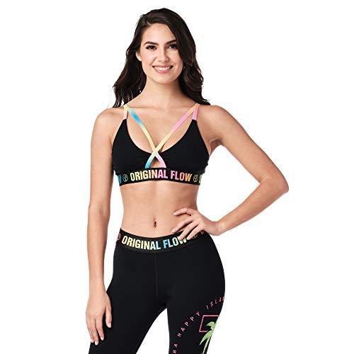 Zumba Sexy Atmungsaktive Sexy Sport Fashion Workout Bralette Damen mit Trägern, Bold Black 0, M