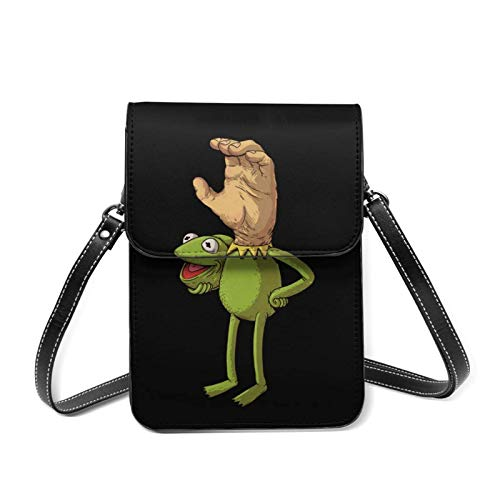 PageHar Kermit The Frog Face Mobile Geldbörse, kleine Umhängetasche, Mini-Handytasche, Umhängetasche, abnehmbarer Schultergurt, geeignet für Frauen