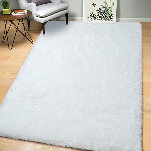 AROGAN Soft White Fluffy Rug Modern Shag Area Rugs for Bedroom Living Room 5x8 Feet, Cute and Comfy Nursery Carpets, Luxury Velvet Plush Carpet for Kids Girls