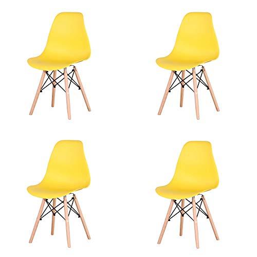 GrandCA Un Conjunto de 4 sillas de Comedor de plástico con Patas de Madera Maciza para Comedor, Sala de Estar, Dormitorio y Cocina (Amarillo)