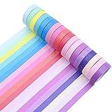 Washi Tape Set Juego de 18 rollos de cinta adhesiva Washi Adhesivo de Cinta Decorativa de colores para diario manualidades decoración de regalo Scrapbooking