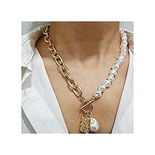 RXDZ Vintage Barroco Cadera de Perlas de Perla Irregular Vintage Collar Geométrico Aangel Colgante Pendiente Collares para Mujeres Punk Jewelry (Color : Gold)