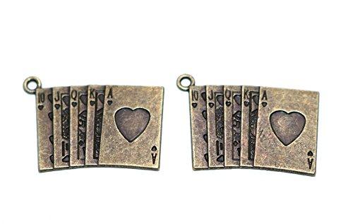 【jewel】r15 トランプ (カード) チャーム 金古美 2個 アンティークゴールド