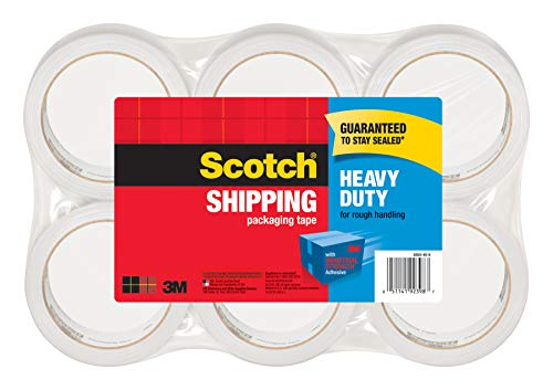"""Scotch Heavy Duty Packaging Tape, 1.88"""" x 54.6 yd, Designed for Packing, Shipping and Mailing, Strong Seal on All Box Types, 3"""" Core, Clear, 6 Rolls (3850-6)"""