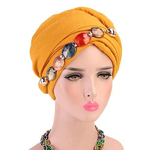 CAFFAINA Collar de joyería para Mujer Bufanda para la Cabeza de Gasa Mantón étnico Gorro de Turbante musulmán Hijab - Amarillo