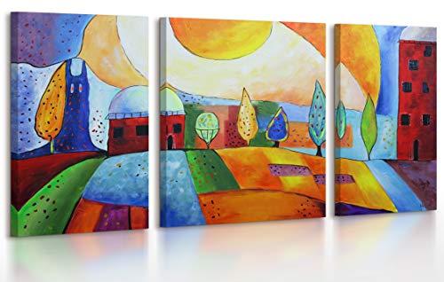YS-Art | Dipinti a Mano Сolori acrilici Città di Smeraldo | Quadro Dipinto a Mano | 120x70 cm | Pittura | Dipinti Modern | Quadri Dipinti a Mano