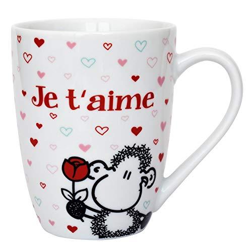 Sheepworld 61268 Lieblingstasse mit französischem Spruch Je t'aime, Porzellan, Geschenk-Anhänger Tasse