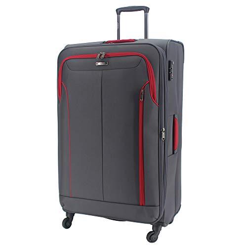 Durable 4 Wheels Suitcase Soft Luggage Lightweight TSA Lock Expandable Bag-RL617 (Large - 30' (H83xW47xD28cm), Grey)