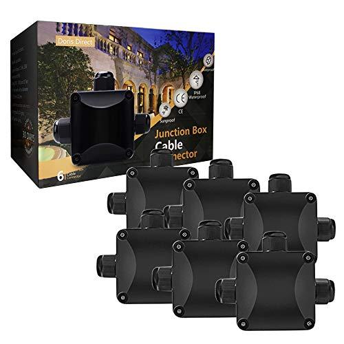 Boîte de jonction, Beautystar 6 pcs Boîte de Jonction IP68 Connecteur Étanche 3 Voies Connecteurs Boîtier Électrique Extérieur Ø 5.5mm-10.2mm