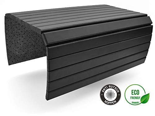 D&D Living Flextray - Bandeja flexible para reposabrazos de madera natural (50 x 35 cm), color negro