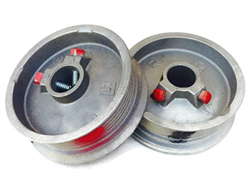 Protech Garage Doors - Pair of Left & Right Hand Heavy Duty Lift Cable Garage Door Drums/Wheel Replacement. Black & Red Torsion Cable Drums for Maximum 1/8