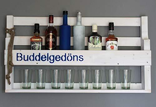 Dekorie Holz Whiskey Regal mit Gläserhalter Vintage Shabby mit Druck | fertig montiert (Weiß(gebeizt)) (Buddel Gedöns (weiß))