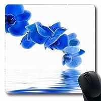 マウスパッド明るさ青蘭反射有機水自然花楕円形7.9 X 9.5インチ長方形ゲームマウスパッド滑り止めラバーマット
