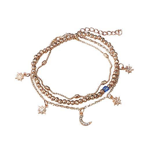Weimay. 1 Pulsera para Mujer con Colgante de Luna y Estrella, con Perlas geométricas y Colgante para el Tobillo, Regalo de cumpleaños.