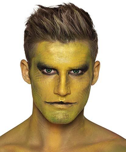 costumebakery - Kostüm Accessoires Zubehör Damen Herren 3-Monats-Linsen Kontaktlinsen Reptilien Augen, 3 Month Lenses Reptile, perfekt für Halloween Karneval und Fasching, Grün