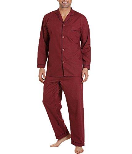 Pflegeleichtes Baumwollmischgewebe, klassischer, langer Pyjama für Herren Gr. XX-Large, Wine/Navy Trim