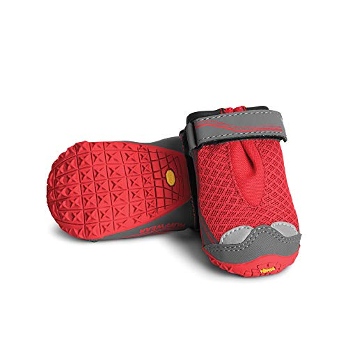 RUFFWEAR All-Terrain Dog Boots (Set of 2), Very Small Breeds, Size: 44 mm/1.75 in, Red Currant, Grip Trex…