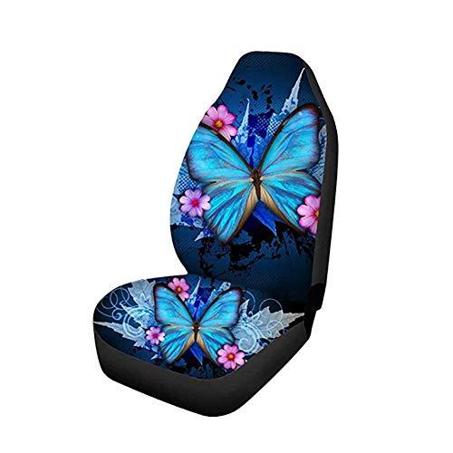 Bezüge Für Autositze 2er-Set Blauer Schmetterlingsdruck Ultraweiche Universal-Passform, Sitzbezug Mit Hoher Rückenlehne Universal Autositzbezüge Schutz