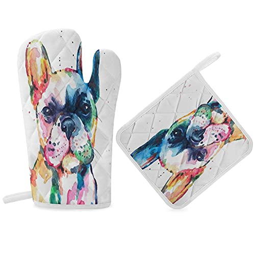 Insulation Gloves Frenchie French Bulldog Original Watercolor Of Dog Funny HappyKitchen Oven Mitts and Pot Holders Farmhouse, Non-Slip Heat Resistant Oven Mitts for Kitchen, Cooking, BBQ, Baking, Gril