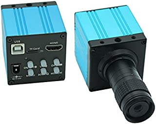 HD 1080P USB Digital Industry Video Inspection Microscope Camera HDMI Set TF Card Video Recorder & Mini 100X C-MOUNT Zoom ...