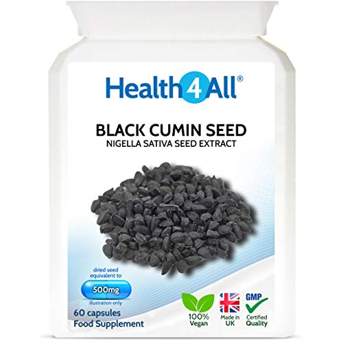 Black Cumin Seed 500mg 60 Capsules (V) Nigella Sativa Vegan Immune Support Supplement Made in The UK by Health4All