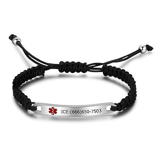 Lorajewel Personalized Medical Alert ID Bracelets Handmade Braided SOS Bangle for Men Women, Free Engraving (Style 4)