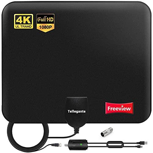 2021 Nouvelle Antenne TV Intérieur Puissante TNT HD - Antenne HDTV avec Amplicateur de Signal Amélioré 30 dBi Jusqu'à 240 km - pour 1080P 4K Chaînes Télévision Gratuites – 5m de Câble Coaxial