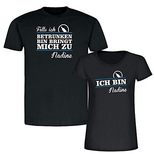 Partner T-Shirts Falls ich betrunken Bin bringt Mich zu. (Schnapsflasche - schwarz) - personalisiert mit Namen - lustiger Spruch - Couple T-Shirt für Sie & Ihn (Schnapsflasche - schwarz)