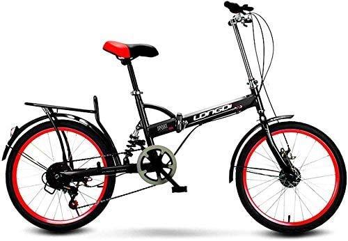Maheegu Plegables Adultos Hombres y Mujeres Masculinos y Femeninos de 16 Pulgadas Bicicleta Plegable portátil de cercanías Cambio de Coche Regalo Activity Vehicle, Azul,Black