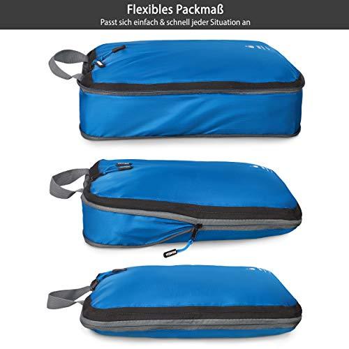 Outdoor Panda Ultraleichte Packtaschen mit Kompression - Wasserabweisende Packwürfel für Rucksack und Koffer - Compression Packing Cubes als Gepäck Organizer und Kleidertasche einzeln oder im Set