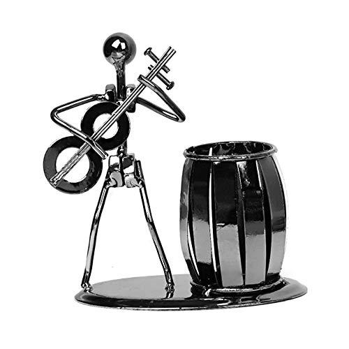 Organizador Escritorio,Lapiceros,Titular Pluma,Metal de hierro forjado reproductor de música músico bolígrafo portalápices organizador de almacenamiento de escritorio cepillo decoración de olla