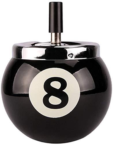 灰皿 回転 卓上灰皿 ビリヤード ボール 型 吸い殻 入れ インテリア 雑貨 丸型 可愛い [elrin] (黒)