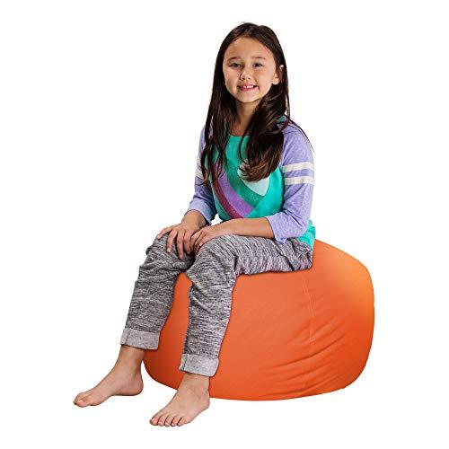 Posh Stuffable Kids Stuffed Animal Storage Bean Bag Chair Cover - Childrens Toy Organizer, Medium 27' - Solid Orange