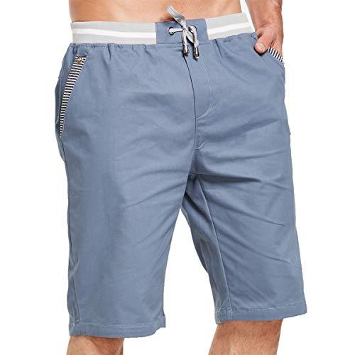 Tansozer Kurze Hosen Herren Bermuda Shorts Herren Sommer Chino Gummizug Denim Blau L