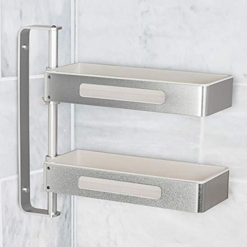 ONVAYA® Estantería giratoria con 2 niveles, ideal como estantería de cocina, estantería de especias o estantería de baño, sin agujeros, estantería esquinera para cocina y baño