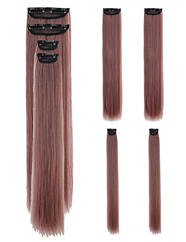 Clip in Hair Extensions 22 Inch Straight Long Colored Hair Extensions Synthetic Hairpieces for Girls Women 4 Pieces 4 Oz, Milky Lavender