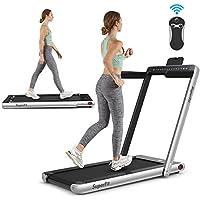 Goplus 2 in 1 Folding Treadmill with Dual Display Walking Jogging Machine
