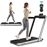 Goplus 2 in 1 Folding Treadmill, 2.25HP Under Desk Electric Pad Treadmill, Installation-Free, with Dual Display, Bluetooth Speaker, Remote Control, Walking Jogging Machine for Home/Office Use (Silver)