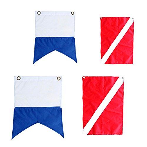MagiDeal 4 Stü Nylon Diver Down Bootsfahne, Scuba Dive Flag Marker 60x70cm; 30x35cm; 60 X 72 cm, 50 X 35 cm
