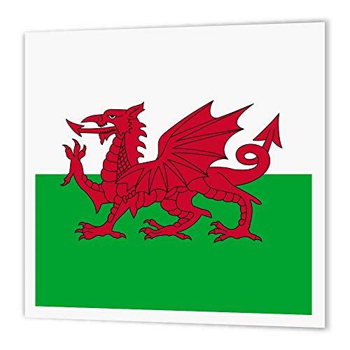 3dRose HT 158289_ 1Flagge von Wales Welsh Red Dragon auf Weiß & Grün Y Ddraig Goch bis United Kingdom Großbritannien Eisen auf Wärmeübertragung für weiß Material, 20,3x 20,3cm
