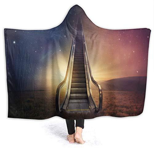 SUGARHE Manta con Capucha,Escalera mecánica hasta el Espacio Galaxy Starry Sky Heaven Planetary Road Theme,Suave Siesta ponible Mantas de Viaje/Vacaciones/Casual 50x40