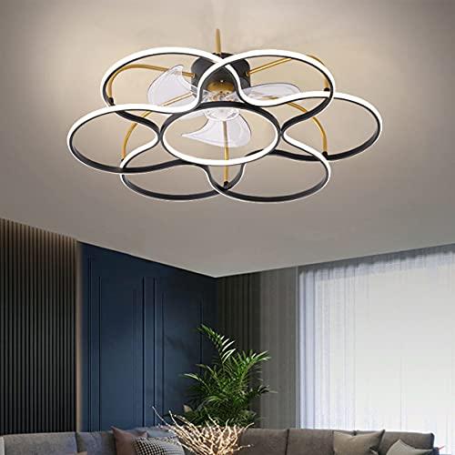 QEGY Moderna Ventilador de Techo Salón con Luz, Silencioso Dormitorio Ventilador con Luz de Techo y Mando a Distancia Regulable Ventiladores de Techo Habitación de Niños Iluminación,Negro
