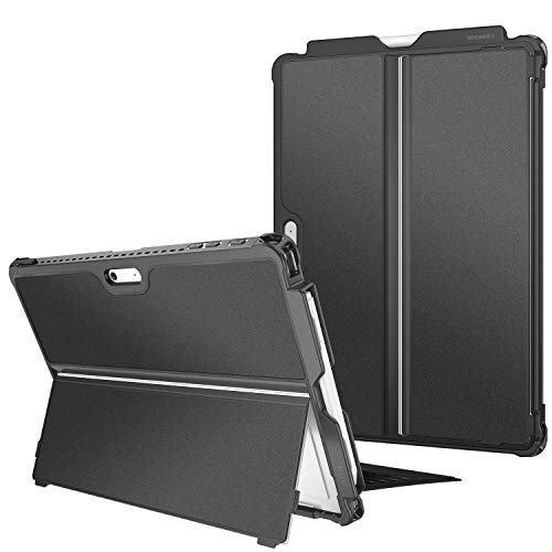 FINTIE Hard Case for Microsoft Surface Pro 7/ Pro 6/Pro 5/Pro LTE - Shockproof Folio Protective Rugged Cover Compatible with Type Cover Keyboard and Original Kickstand, Black