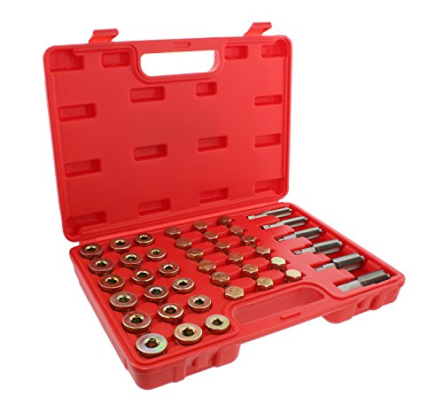 ABN Metric Oil Pan Drain Plug Thread Repair Rethreading 114-Piece Tool Set – Rethreader Tap Kit Motorcycle Car Threading