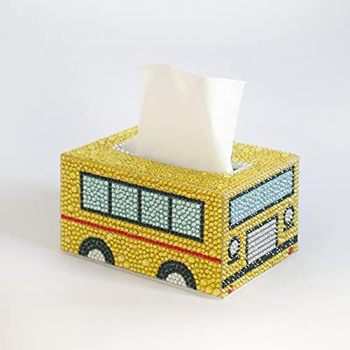 Caja de pañuelos de pintura de diamante, hecha a mano, caja de pañuelos para el hogar, bordado de diamante, paquete de material de punto de cruz, autobús escolar