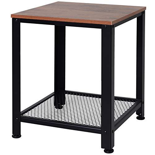 HOMCOM Side Table Industrial Coffee Table End table Shelf with Metal Frame Adjustable Feet Brown Black