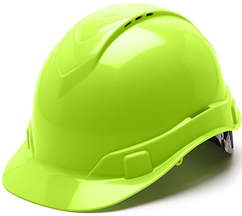 Pyramex Ridgeline Cap Style Hard Hat, Vented, 4-Point Ratchet Suspension, Hi-Vis Lime