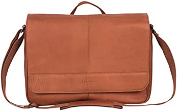 Kenneth Cole Reaction Risky Business Messenger Full-Grain Colombian Leather Crossbody Laptop Case & Tablet Day Bag, Cognac, One Size