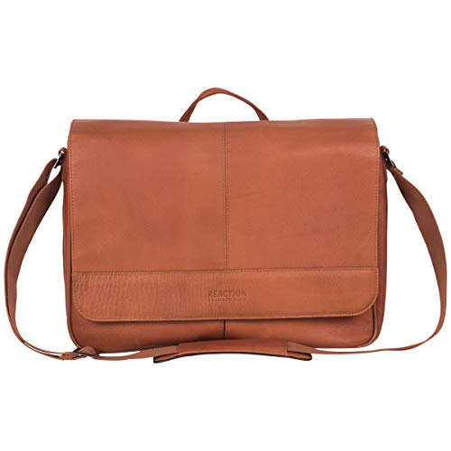 Kenneth Cole Reaction Risky Business Colombian Leather Crossbody Laptop & Tablet Flapover Messenger, Cognac, One Size